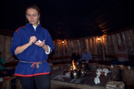 Traditional reindeer meal in a tipi.